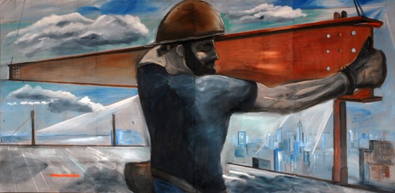 Man Of Steel, 2010 Oil on wood 8 x 16 ft